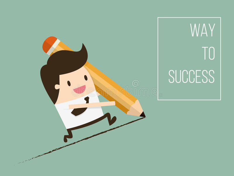 Way To Success. Concept of Business Opportunity. Flat Design Cartoon Vector Illustration vector illustration
