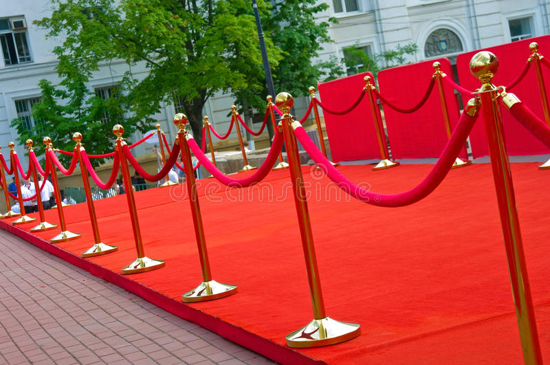 Way to success on the red carpet (Barrier rope) royalty free stock photo