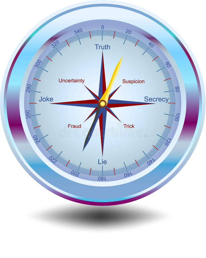 Way to truth. Magical vector compass showing the way to truth vector illustration