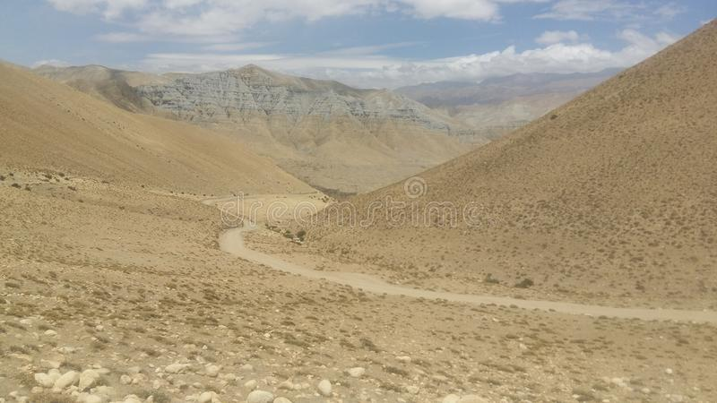 On the way to upper mustang, Nepal stock images