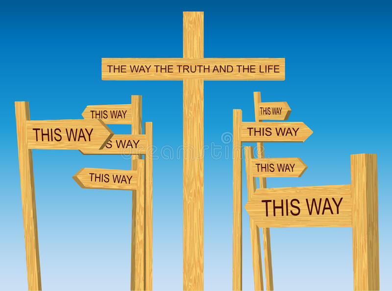 Way, Truth and Life Sign. Among Conflicting Direction Signs royalty free illustration