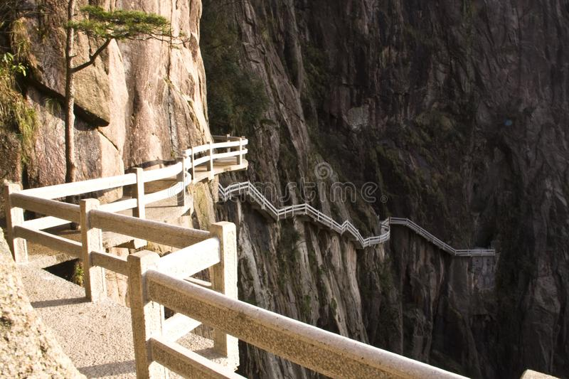 Stone Steep Steps . Trekking walking hiking Huangshan Mountain. The way up , Stone Steep Steps . Trekking walking hiking Huangshan Mountain. Anhui, China. 13th royalty free stock photos