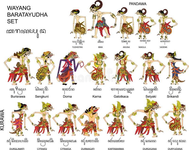 Wayang Baratayuda ställde in av Mahabharata, teckenet, den indonesiska traditionella skuggadockan - vektorillustration stock illustrationer