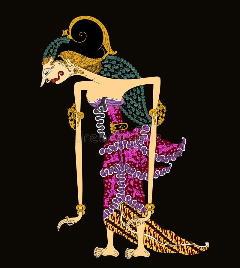 ` Wayang eller docka`-konst av den forntida kulturjawaen indonesia Drupadi royaltyfri illustrationer