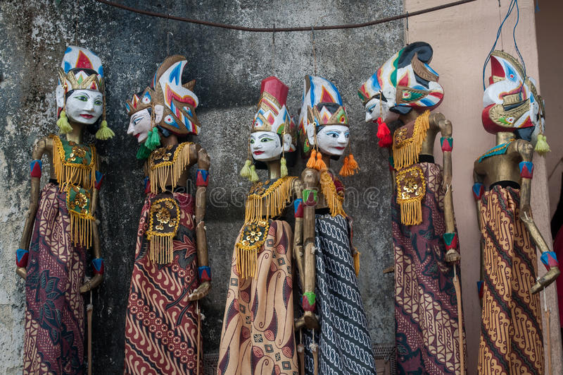 Wayang na cultura tenganan do fantoche de bali Indonésia da vila fotografia de stock