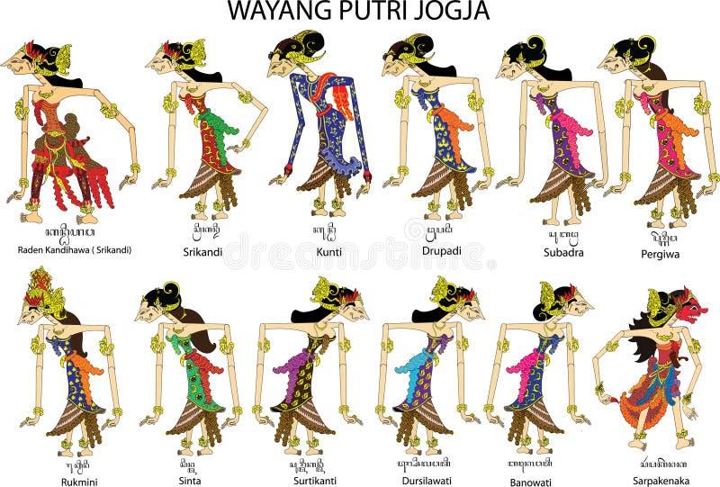 Wayang Putri Jogja,女性和夫人字符,印度尼西亚传统阴影木偶-传染媒介例证 皇族释放例证