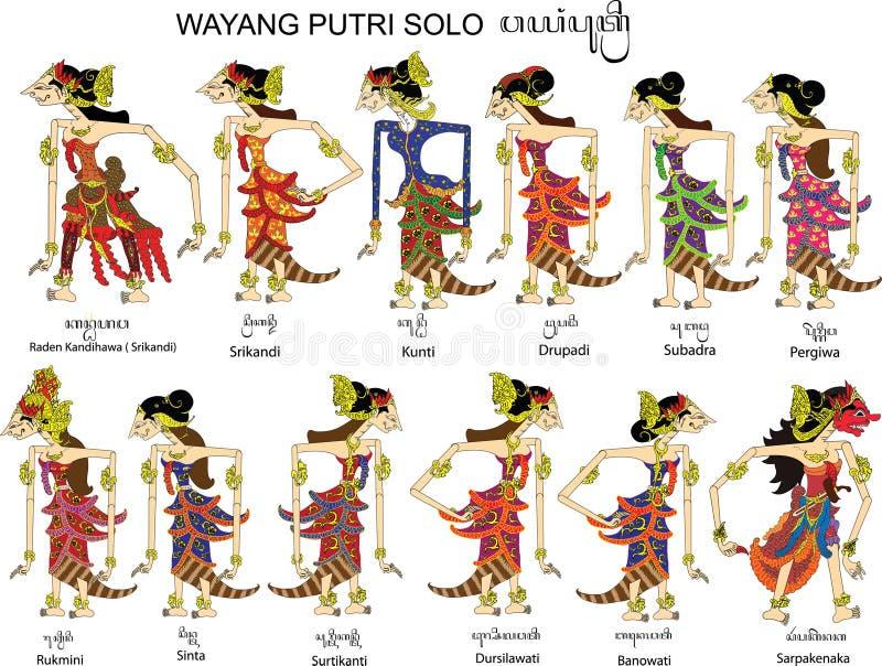 Wayang Putri solo, kvinnlig och damtecken, indonesisk traditionell skuggadocka arkivfoto