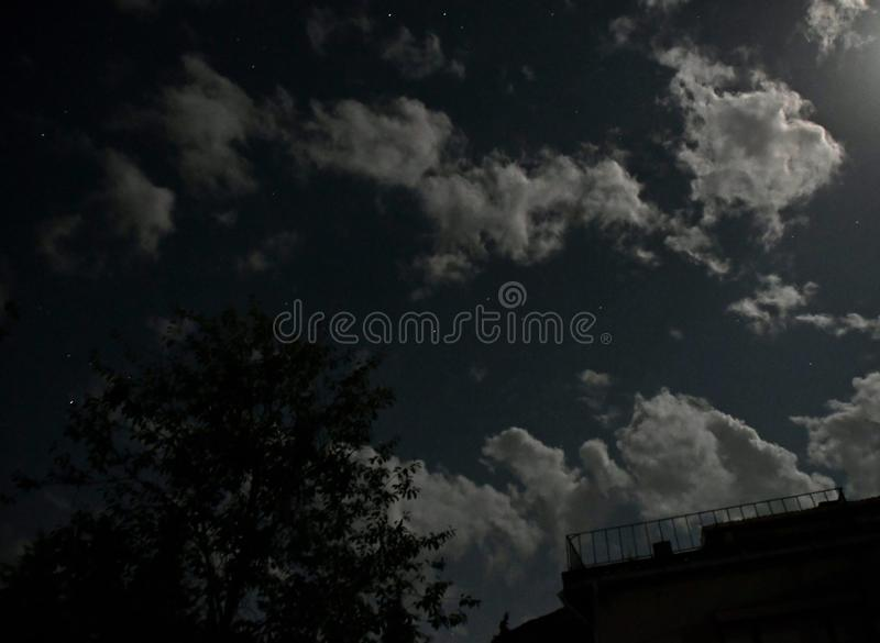 Wayfarers clouds, white clouds at night, abstract heavenly night, stock photos