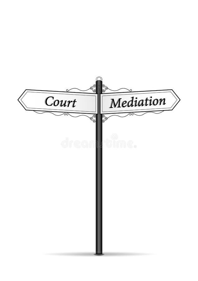 Waymark di mediazione di corte isolato sul vettore verticale del fondo bianco royalty illustrazione gratis