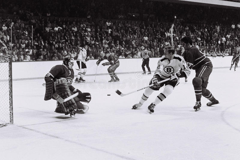 Wayne Cashman e Ken Dryden, NHL do vintage imagem de stock