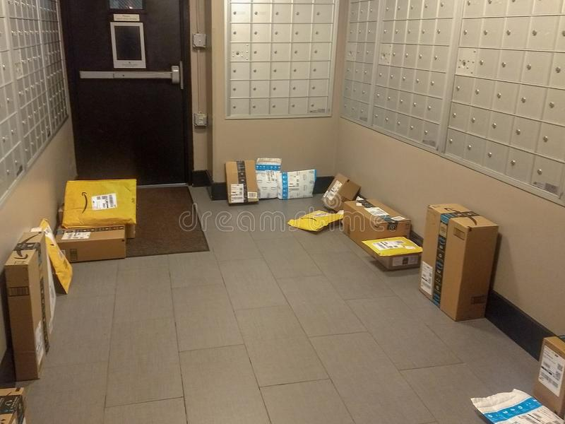 Wayne, New Jersey, United States - March 17, 2019: Amazon Packages Delivered Easily Stolen by Package Thieves stock photos