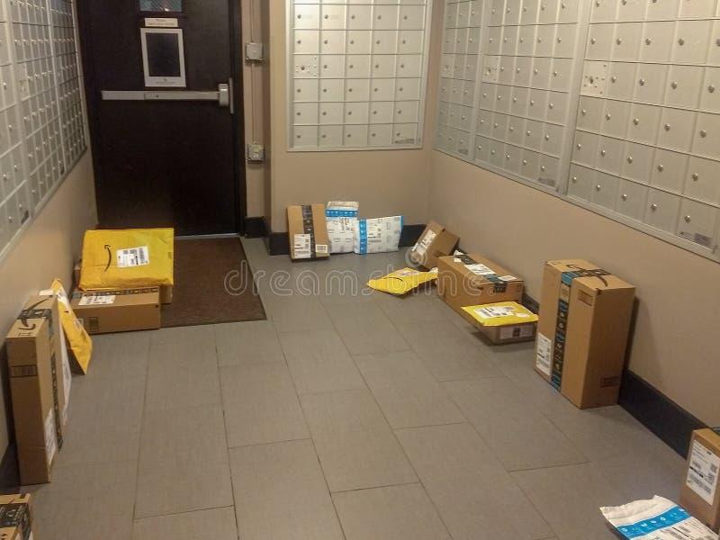 Wayne, New-Jersey, Vereinigte Staaten - 17. März 2019: Amazonas-Pakete lieferten leicht gestohlen durch Paket-Diebe stockfotos