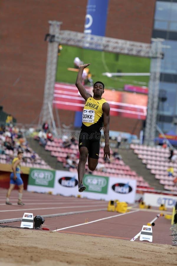 WAYNE PINNOCK von der Jamaika-Gewinnbronzemedaille im Weitsprungsschluß an den Meisterschaften IAAF-Weltu20 lizenzfreie stockbilder