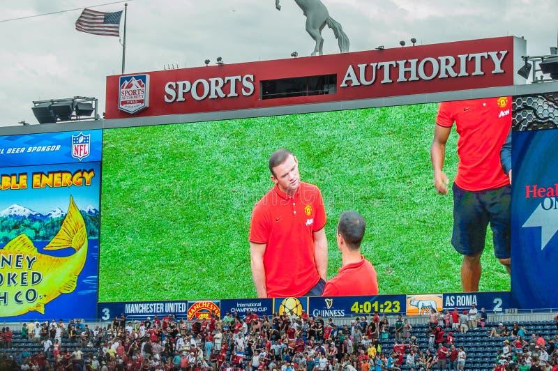 Wayne Rooney sul grande schermo immagine stock libera da diritti