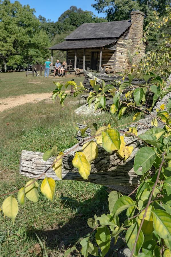 Stack Rail Fence. Waynesboro, VA – October 3rd: A stack rail fence exhibit at the Humpback Rocks Farm Museum located at milepost 5.9 of the Blue Ridge stock image