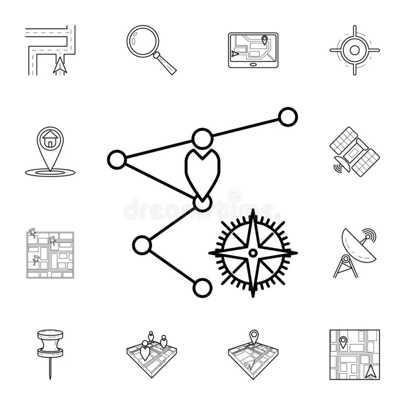 Waypoints and compass icon. Detailed set of navigation icons. Premium graphic design. One of the collection icons for websites,. Web design, mobile app on white stock illustration