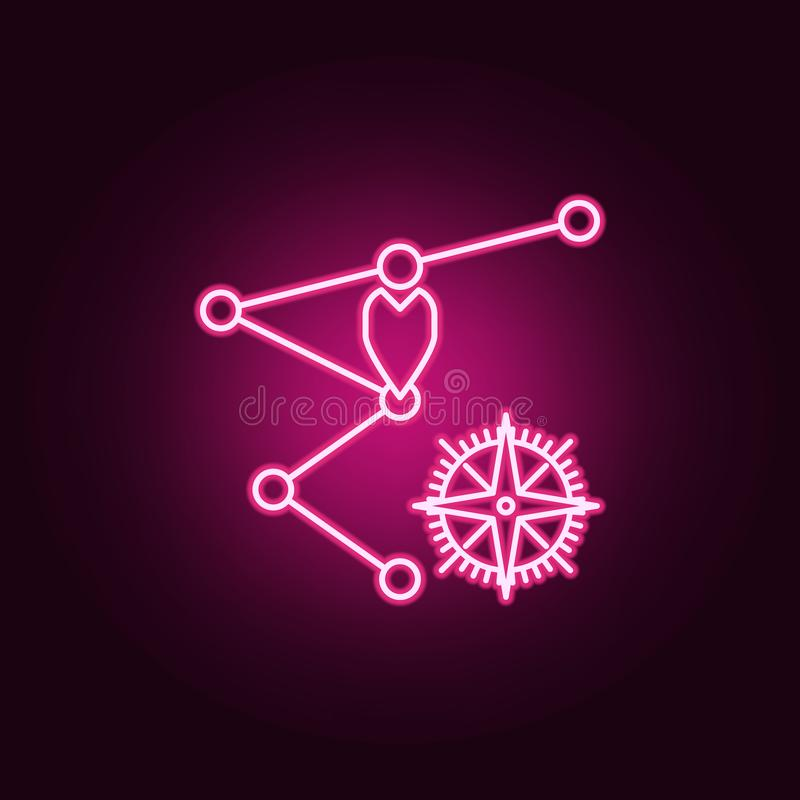 Waypoints and compass neon icon. Elements of Navigation set. Simple icon for websites, web design, mobile app, info graphics. On dark gradient background royalty free illustration