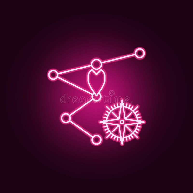 waypoints ed icona al neon della bussola Elementi dell'insieme di navigazione E royalty illustrazione gratis