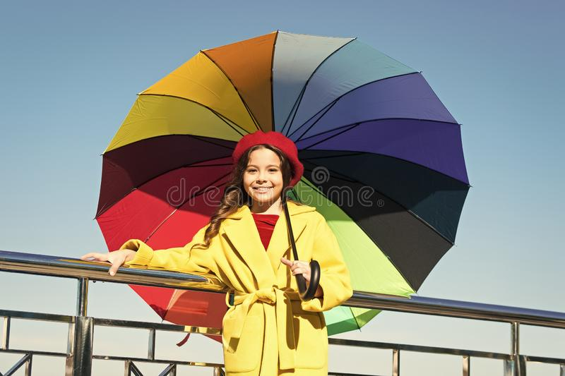 Ways brighten your fall mood. Girl child long hair ready meet fall weather with umbrella. Colorful accessory for royalty free stock images