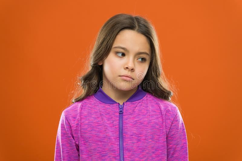 Ways parents can change kids likes and dislikes. Girl little kid sad face dislike something. Kid unhappy small baby. Know your children by their likes and royalty free stock image