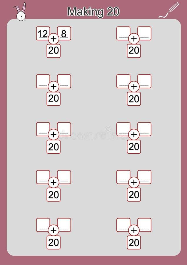 Ways To Make 20, Addition Worksheet For Kids Stock Illustration ...