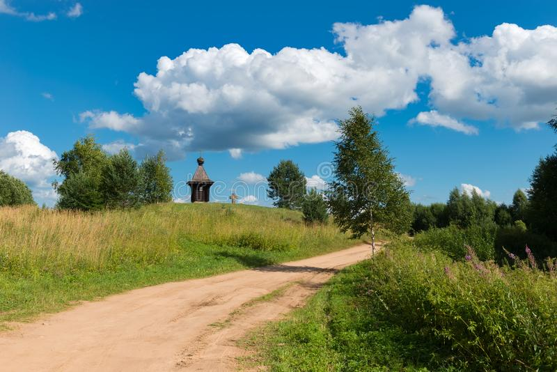 On the way from Varangians to Greeks. Wayside cross and chapel. Tver region, Russia. On the way from Varangians to Greeks royalty free stock images