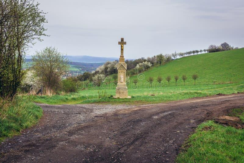 Wayside shrine in Czech Republic. Wayside cross on a hills above Jaroslavice, quarter of Zlin town in Czech Republic stock images
