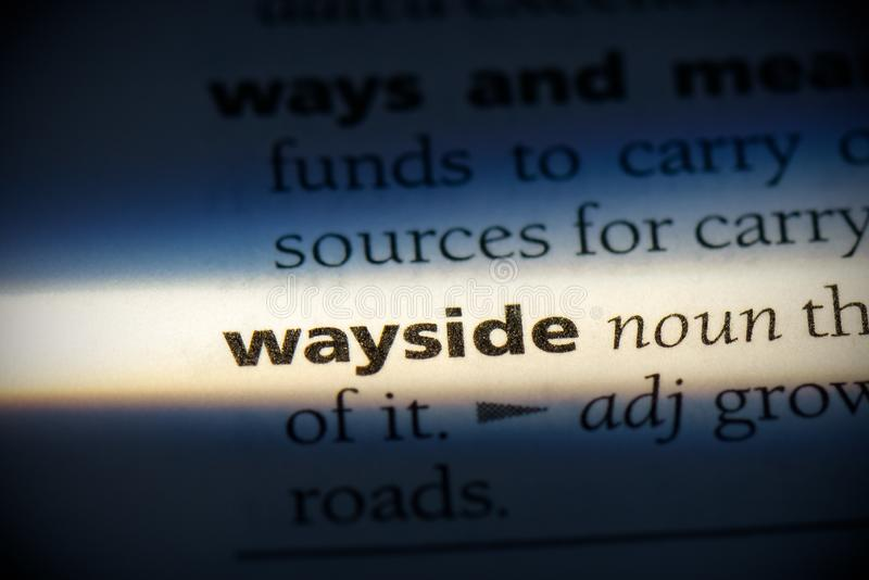 Wayside. Word in a dictionary.  concept, definition royalty free stock photo