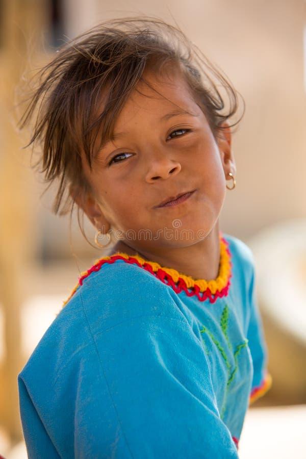 Wayuu印地安女孩画象在蓬塔伽利纳 图库摄影