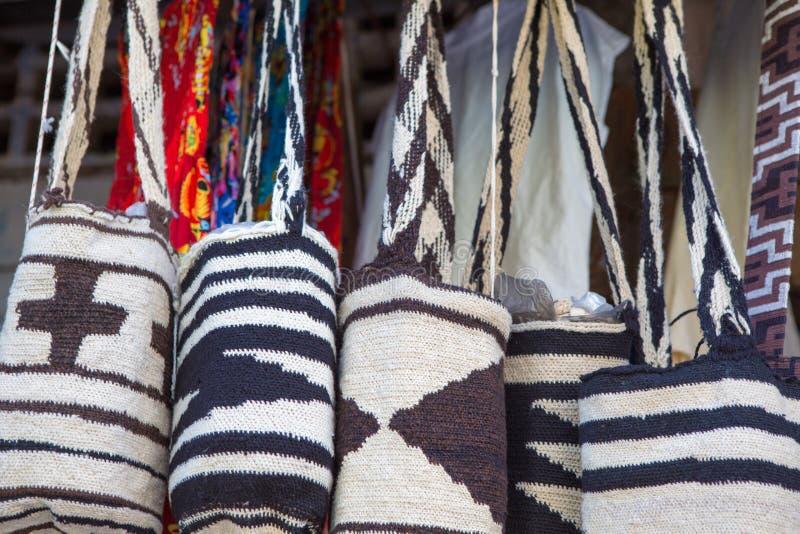 Wayuu bags for sale in Cartagena stock photo