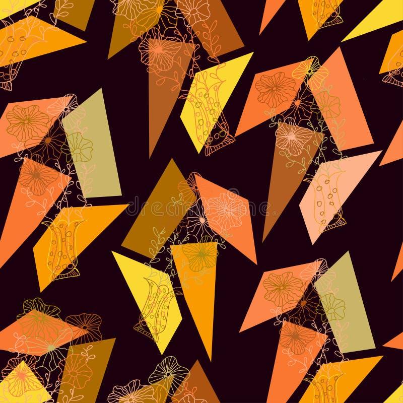 Waza z abstraktem kwitnie z geometrycznymi postaciami różni kolory na ciemnego brązu tle ilustracji