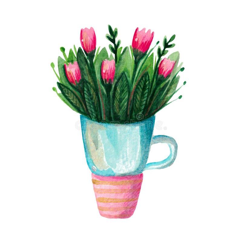 Waza z wiosną kwitnie tulipany w kubku ilustracja wektor