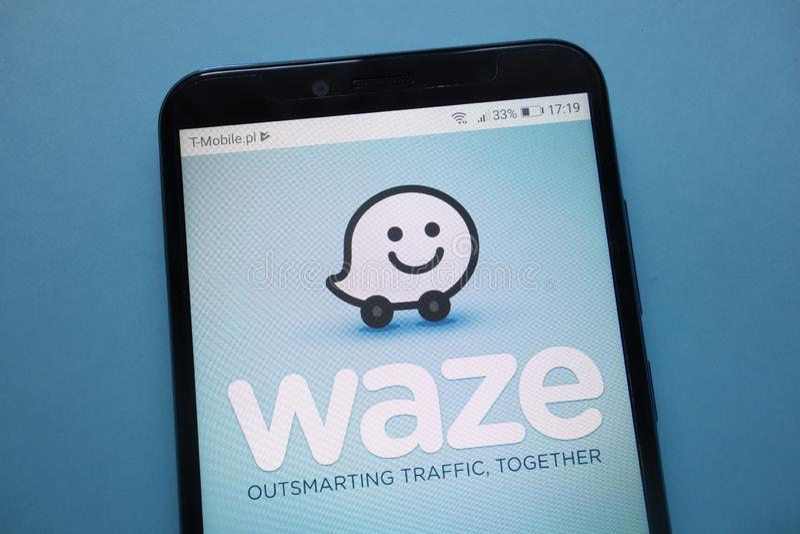 Waze logo on smartphone stock photo