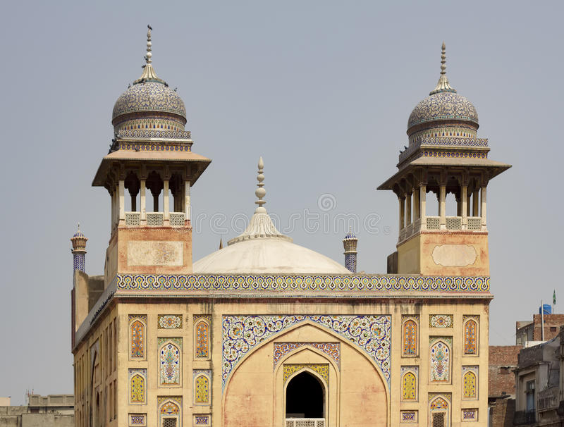 Wazir Khan Mosque, Lahore, Pakistan. Details of the beautiful Wazir Khan Mosque in the old city center of Lahore, Pakistan stock photography