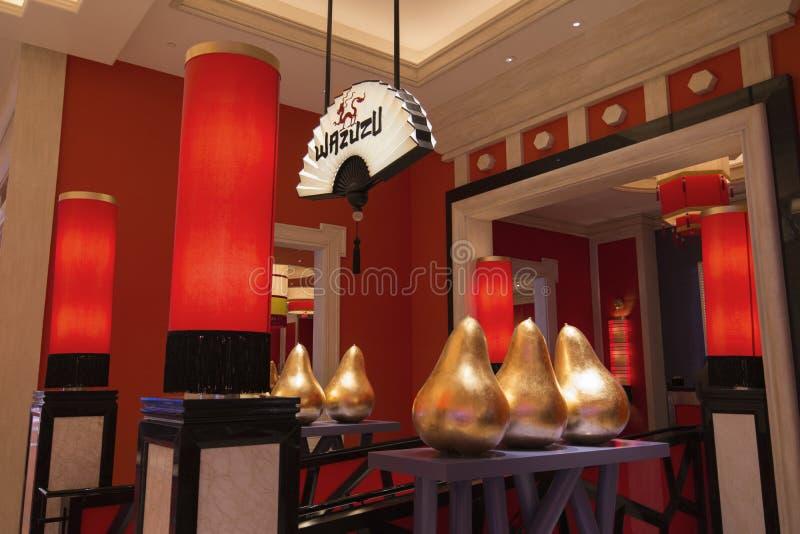 Wazuzu restaurang inom av extranummerhotellet i Las Vegas arkivbild