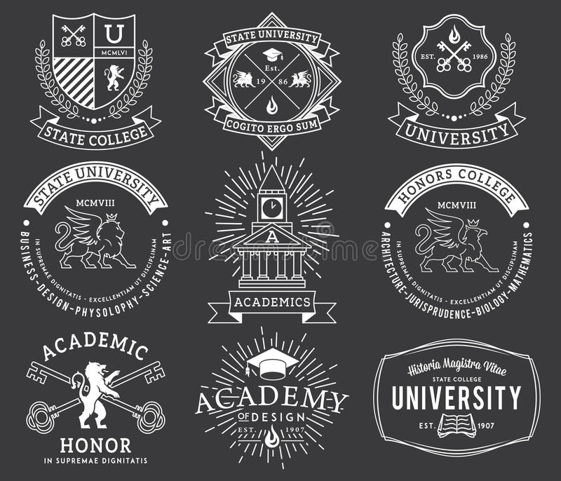 WB dos crachás 2 da faculdade e da universidade imagens de stock royalty free