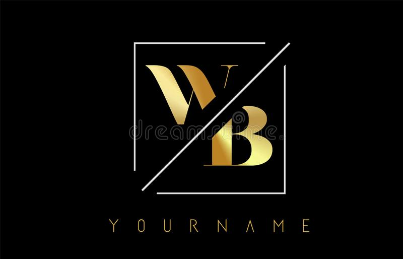 WB Golden Letter Logo with Cutted and Intersected Design. And Square Frame Vector Illustration stock illustration