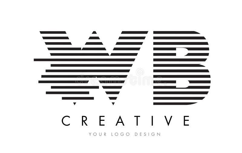 WB W B Zebra Letter Logo Design with Black and White Stripes stock illustration