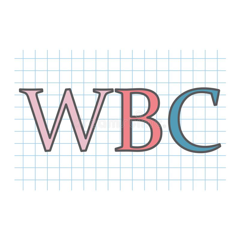 WBC White Blood Cell acronym on checkered paper sheet. Vector illustration royalty free illustration