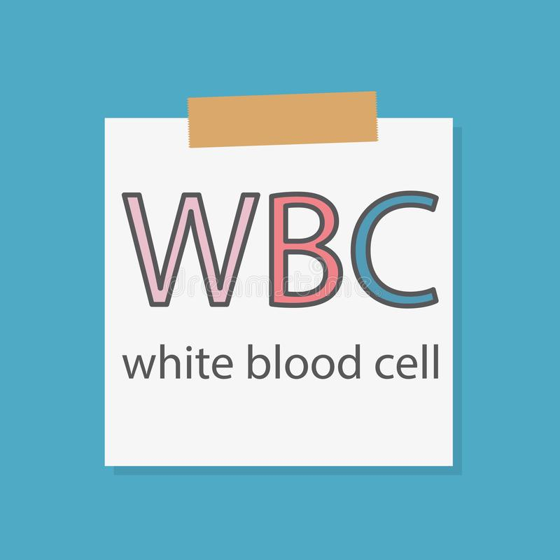 WBC White Blood Cell acronym on a notebook paper. Vector illustration stock illustration