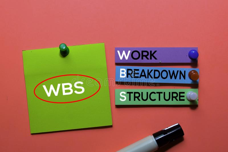 WBS. Work Breakdown Structure acronym on sticky notes. Office desk background royalty free stock photography