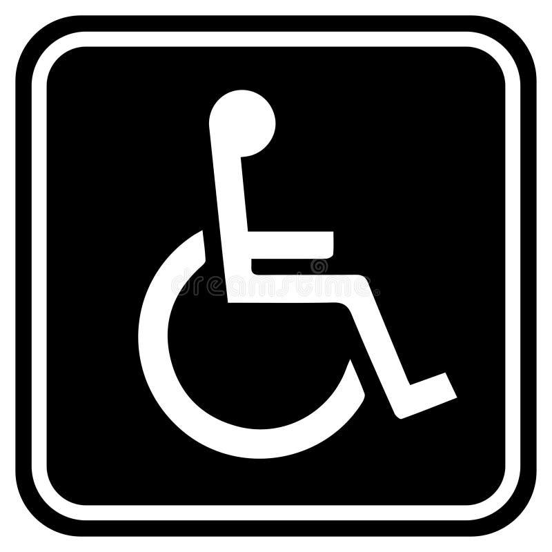 Wc洗手间门板材象 休息室的残疾人的标志 平的传染媒介例证标志黑白色 向量例证
