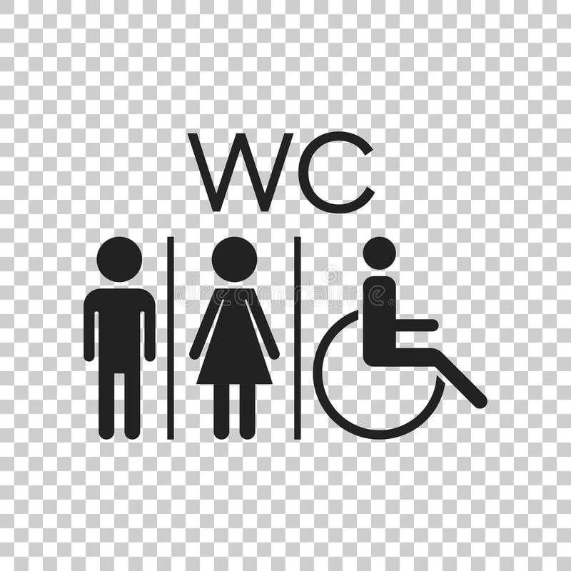 WC, επίπεδο διανυσματικό εικονίδιο τουαλετών Σημάδι ανδρών και γυναικών για το χώρο ανάπαυσης επάνω διανυσματική απεικόνιση