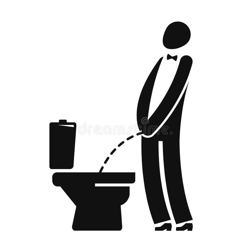 WC, смешной символ Человек или джентльмен peeing в туалете также вектор иллюстрации притяжки corel иллюстрация вектора