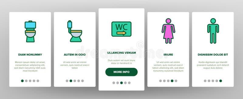 WC, allgemeines Badezimmer, Toiletten-Vektor Onboarding lizenzfreie abbildung