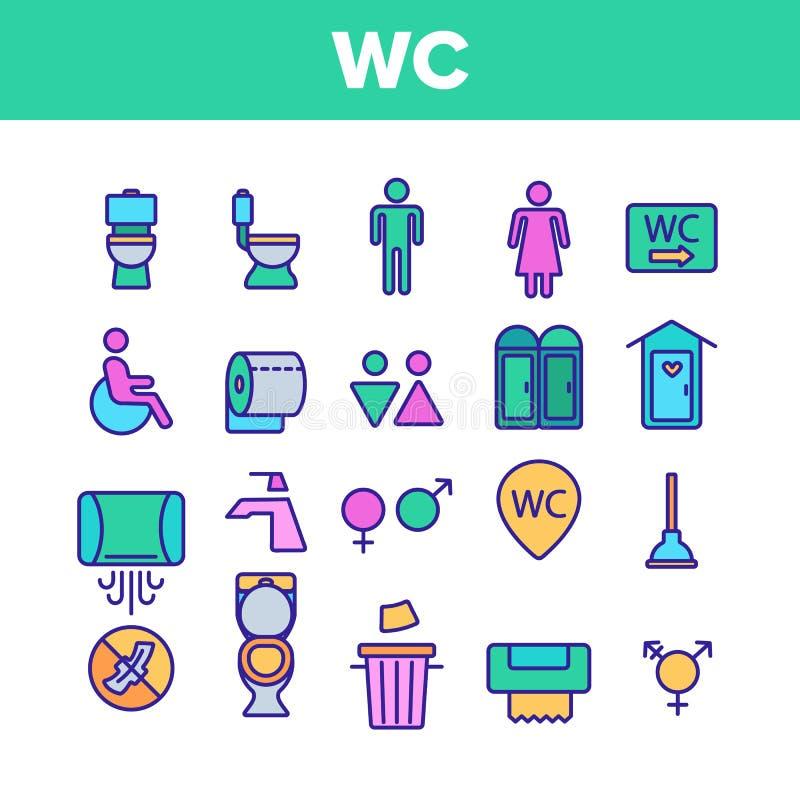 WC, cuarto de baño público, sistema linear de los iconos del vector del retrete stock de ilustración