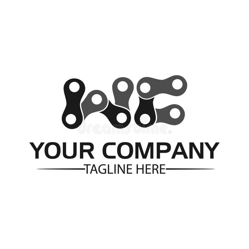 WC da letra, WC de Logo Letter e corrente logotipo formado pela corrente ilustração royalty free