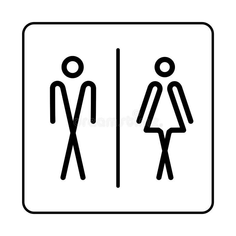 WC-de plaatpictogram van de Toiletdeur Eenvoudige badkamersplaat stock illustratie