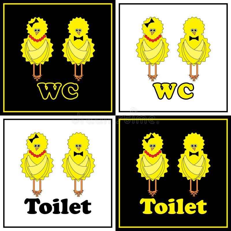 WC engraçado com galinha ilustração do vetor
