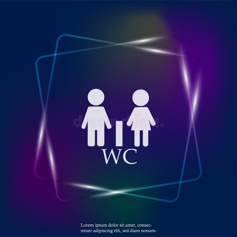 Wc-/för ljus för neon för vektor för toalettdörrplatta symbol Man- och kvinnasym royaltyfri illustrationer